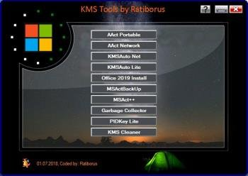 Сборник активаторов Windows - KMS Tools Portable 01.07.2018 by Ratiborus